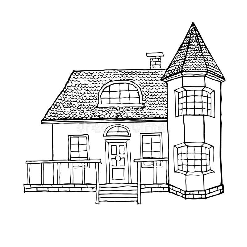 Maison de village avec une fenêtre en saillie, une tourelle, un grenier et une terrasse La maison dans le style victorien illustration stock