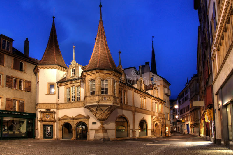 Maison des Halles, Neuchatel, Switzerland. Maison des Halles is a beautiful renaissance market hall dating back to the 16th century (1569) and located in the stock photo
