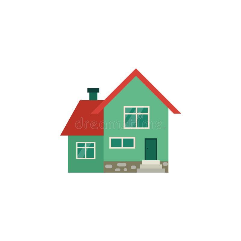 Maison deux-racontée verte de cottage avec le toit rouge illustration libre de droits