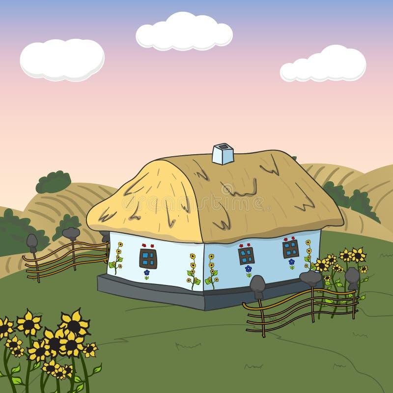 Maison douce à la maison Carte avec la maison mignonne Vecteur illustration de vecteur