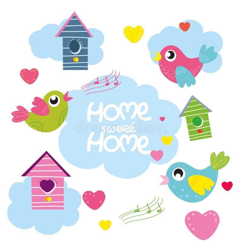 Maison douce à la maison, oiseaux réglés de bande dessinée de vecteur, coeurs, maison d'oiseau illustration libre de droits