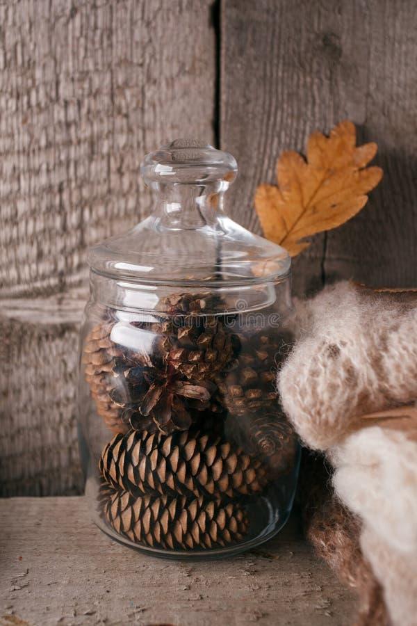 Maison douce D?cor monochrome de chute d'automne de No?l sur le fond en bois naturel de cru image stock