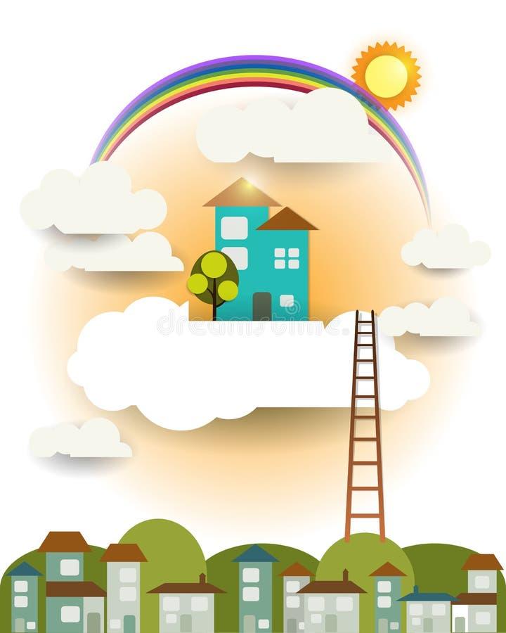 Maison douce, soleil, arc-en-ciel avec le nuage et ciel de maison de papier abstraite de coupe-imagination illustration de vecteur
