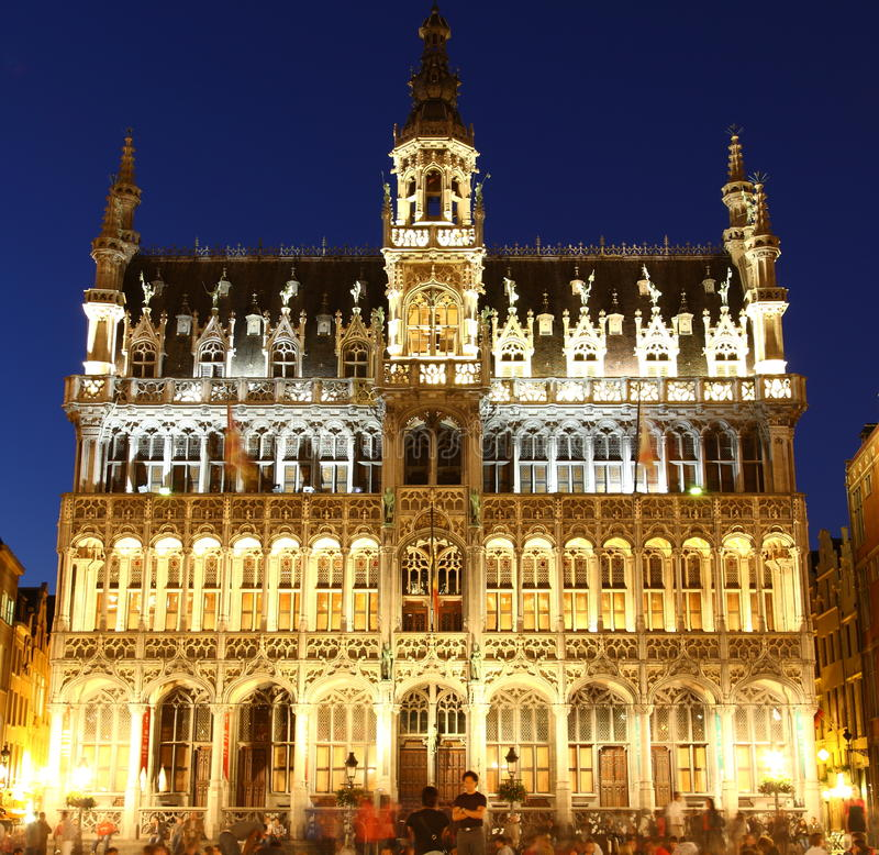 Maison du Roi. In Brussel at twillight illuminated during light show royalty free stock images