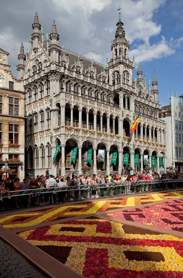 Maison du Roi ou rei House em Grand Place de Bruxelas durante o festival do tapete da flor fotografia de stock