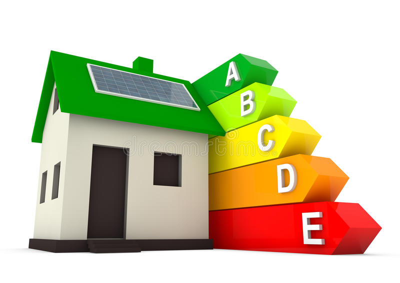 Maison efficace d'énergie pour des économies l'environnement du monde illustration libre de droits
