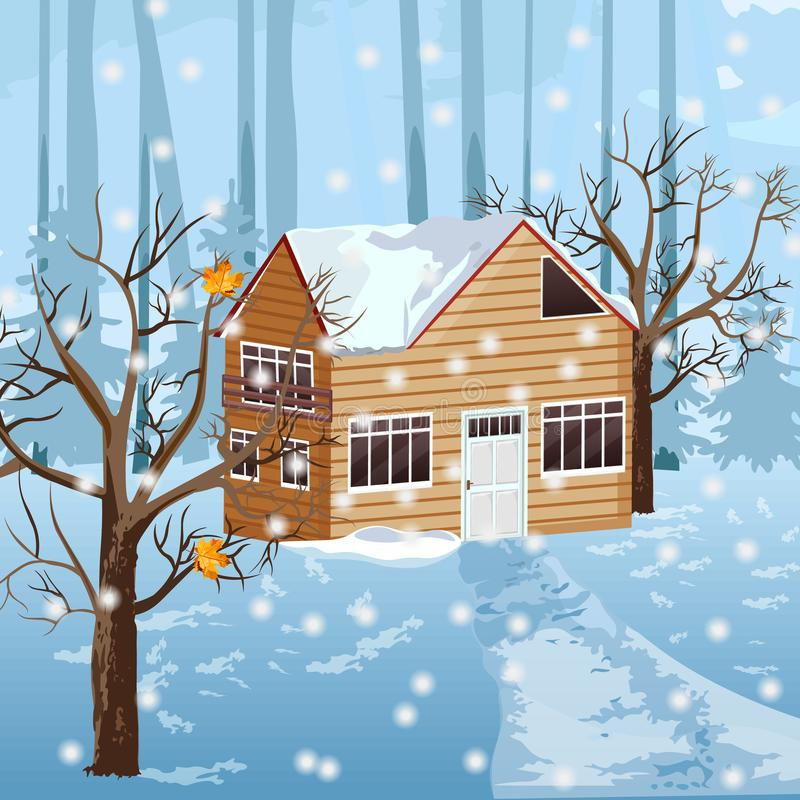 Maison en bois au vecteur de saison d'hiver Milieux de chute de neige illustration de vecteur
