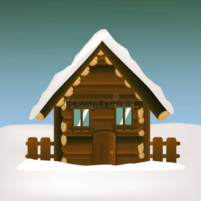 Maison en bois avec le paysage d'hiver illustration de vecteur