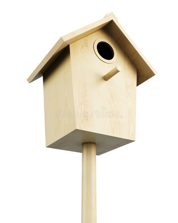 Maison en bois d'oiseau sur un fond blanc 3d rendent l'imag illustration stock