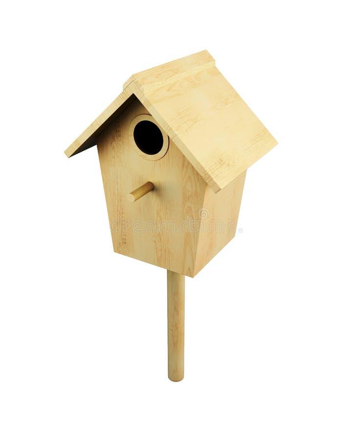Maison en bois d'oiseau sur un poteau d'isolement sur un fond blanc 3d illustration de vecteur