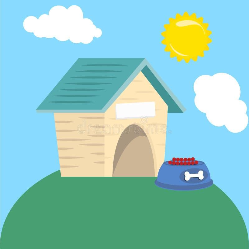 Maison en bois de chien vide avec la nourriture dans le toit illustration de vecteur