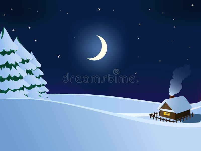 Maison en bois de petite hutte dans la nuit de l'hiver de Noël illustration libre de droits