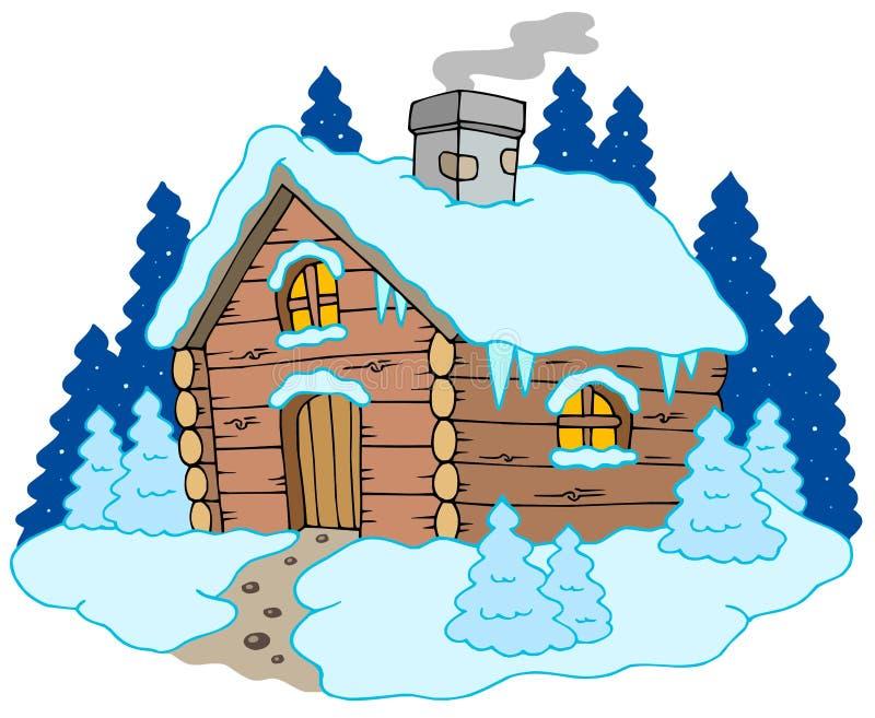 Maison en bois en horizontal de l'hiver illustration de vecteur