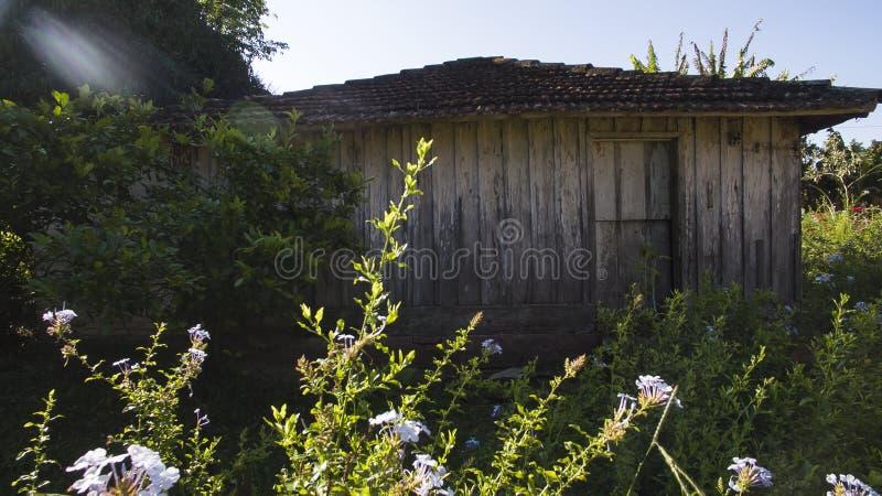 Maison en bois très simple, mal peignée, une ferme pauvre au Brésil images stock