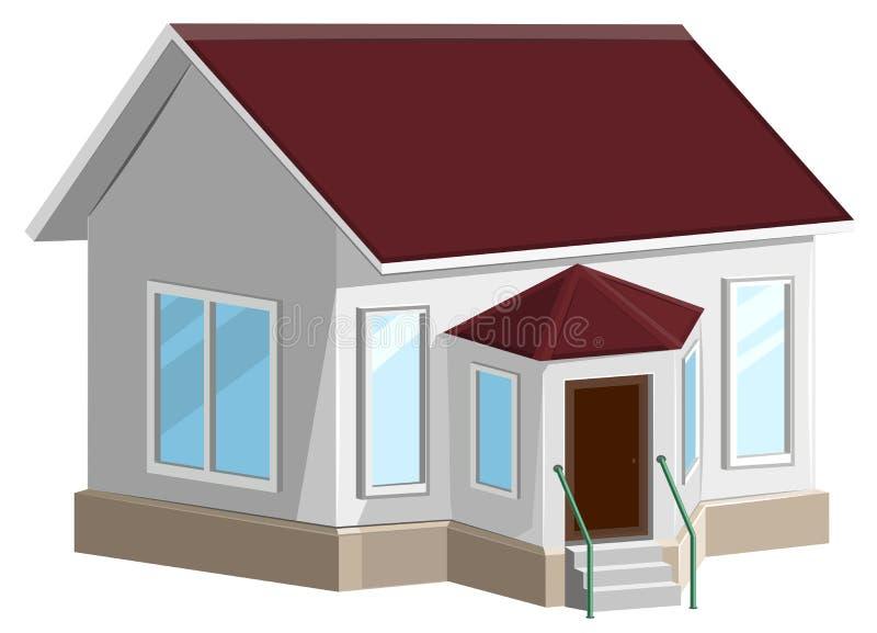Maison en pierre blanche avec la fenêtre en saillie illustration libre de droits