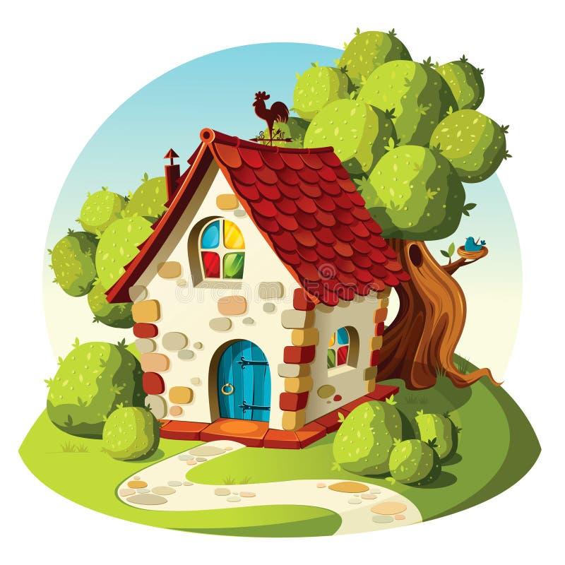 Maison en pierre rustique Paysage d'ÉTÉ illustration de vecteur