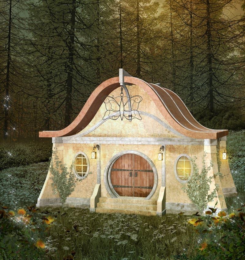 Maison enchantée par imagination dans une forêt de floraison illustration de vecteur