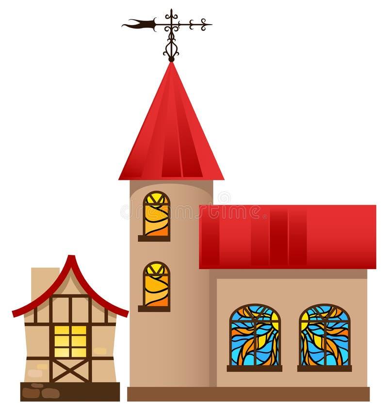 Maison et église médiévales illustration libre de droits