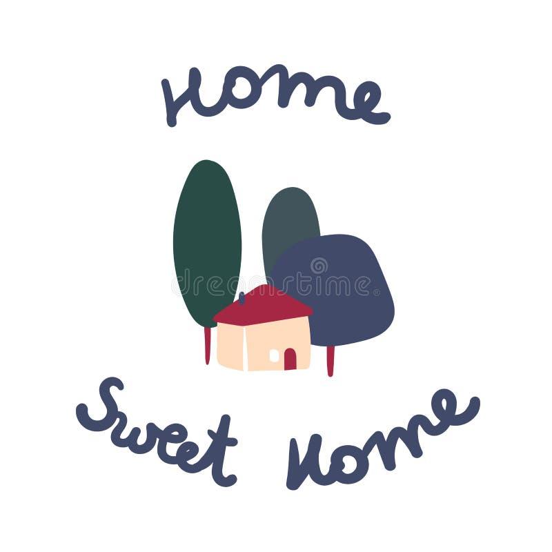 Maison et arbres doux ? la maison, dormat ou signe bienvenu illustration de vecteur