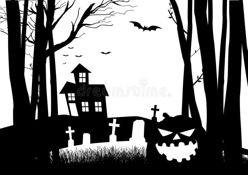 Maison et cimetière effrayants dans les bois foncés illustration stock