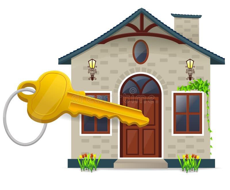 Maison et clé illustration stock