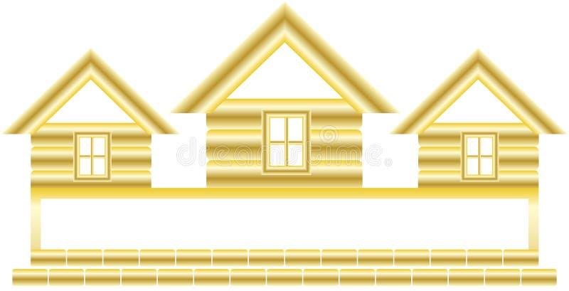 Maison et espace d'or pour le texte illustration de vecteur