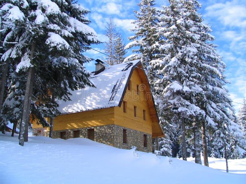 Maison et forêt de montagne de l'hiver images stock