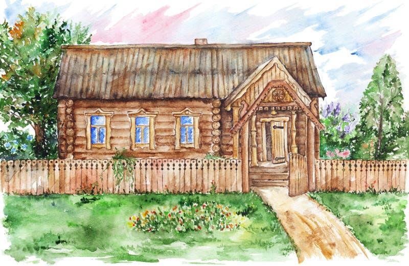 Maison et jardin de hutte d'aquarelle dans le village illustration libre de droits