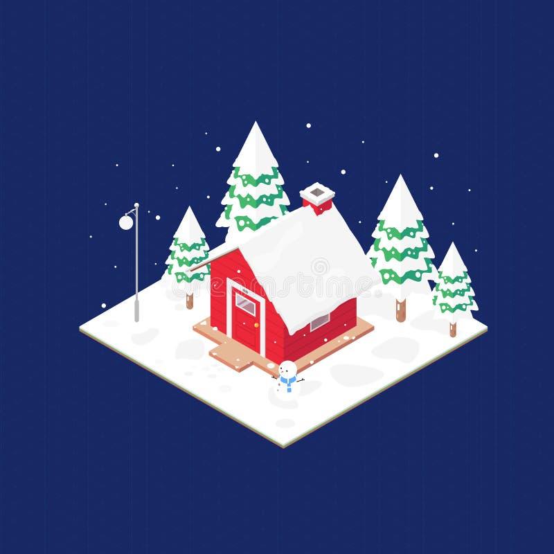 Maison et neige rouges isométriques, vecteur illustration stock