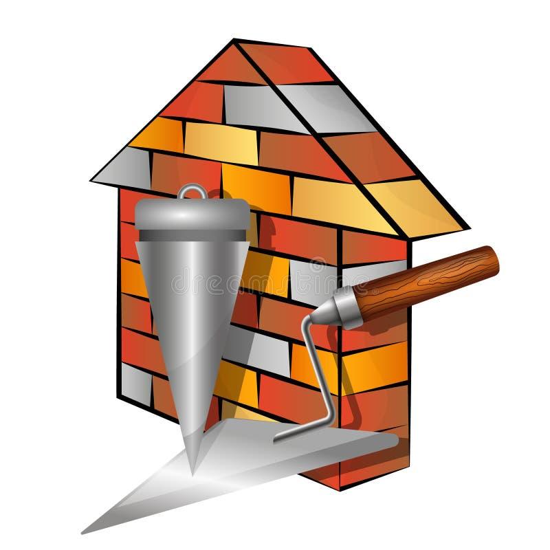 Maison et outils de brique illustration de vecteur