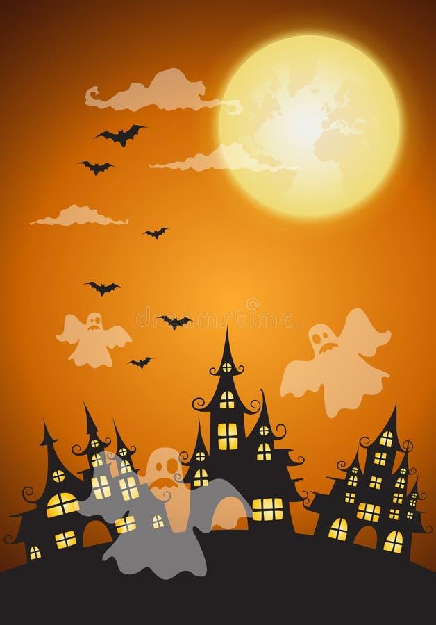 Maison et pleine lune hantées avec le fantôme, backgroun de nuit de Halloween illustration de vecteur