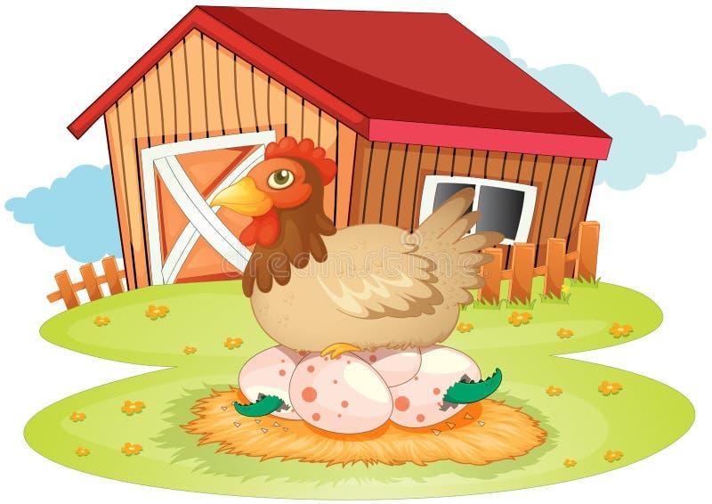 Maison et poule de ferme illustration de vecteur