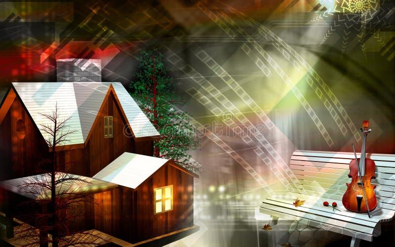 Maison et violon illustration stock