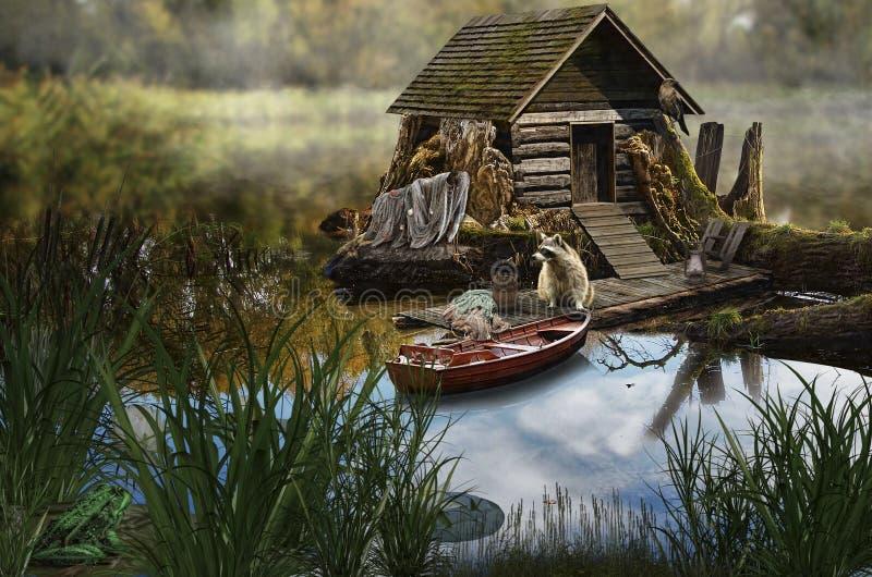 Maison féerique (la maison du pêcheur) illustration libre de droits