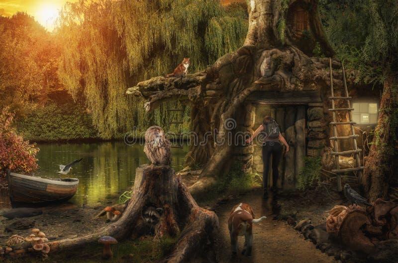 Maison féerique par l'étang illustration de vecteur