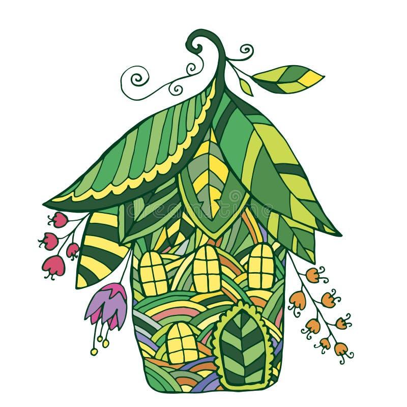 Maison féerique sous forme de fleurs et de feuille illustration de vecteur