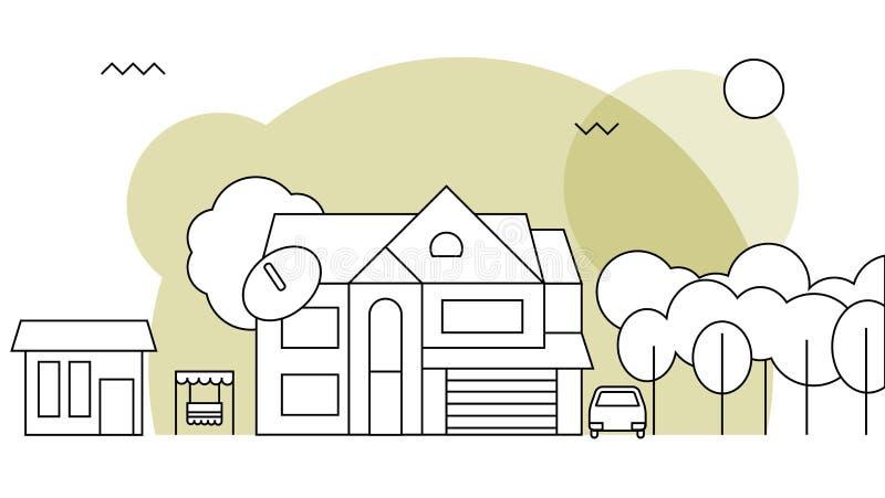 Maison familiale traditionnelle Concept plat de vecteur de conception illustration libre de droits