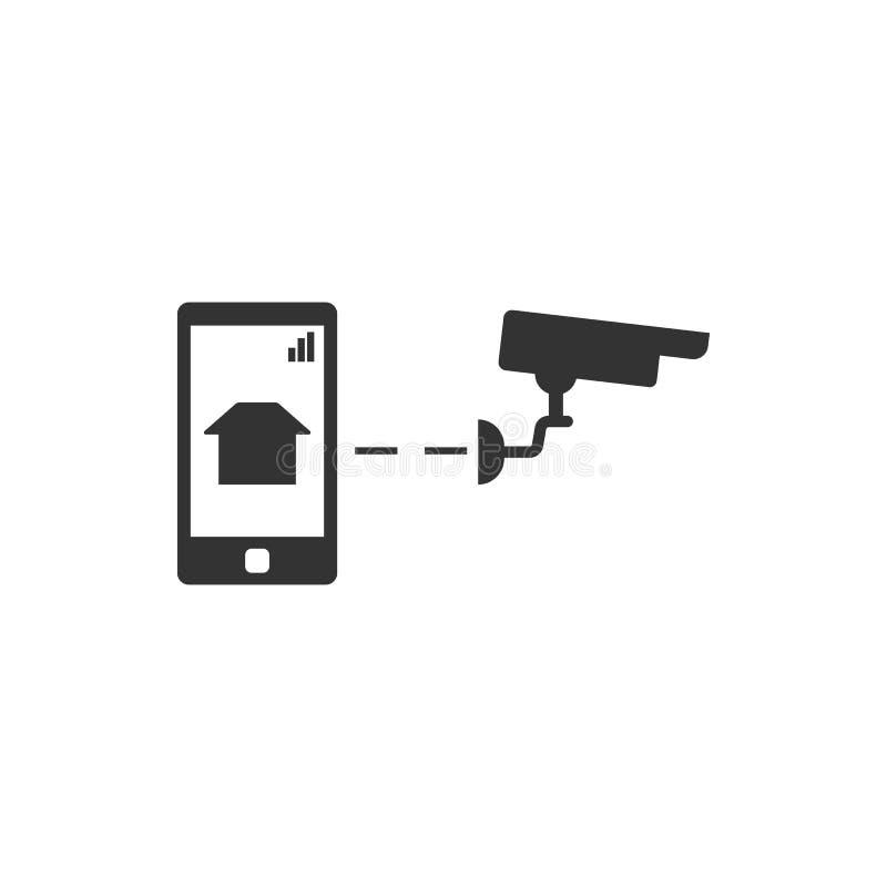 Maison futée, caméra de sécurité, icône de vecteur de téléphone Ic?ne de vecteur de s?curit? illustration de vecteur