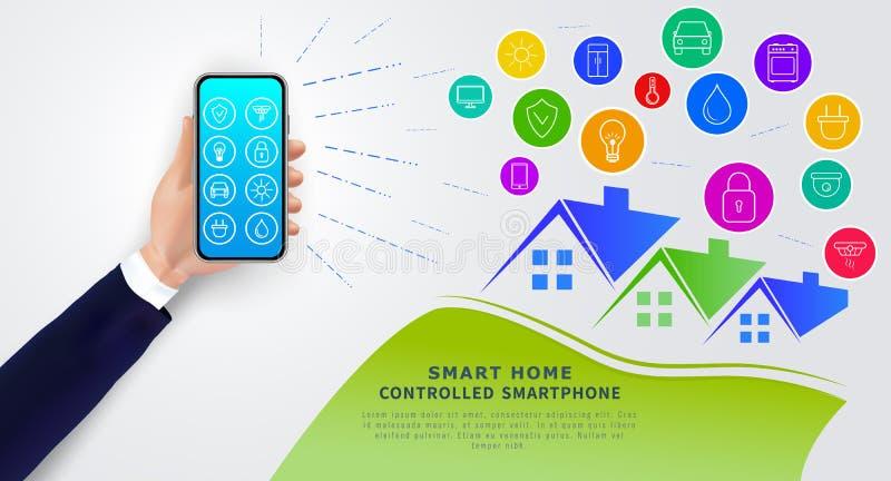 Maison futée commandée par le smartphone Téléphone portable de participation de main avec l'appli pour à télécommande du système  illustration de vecteur