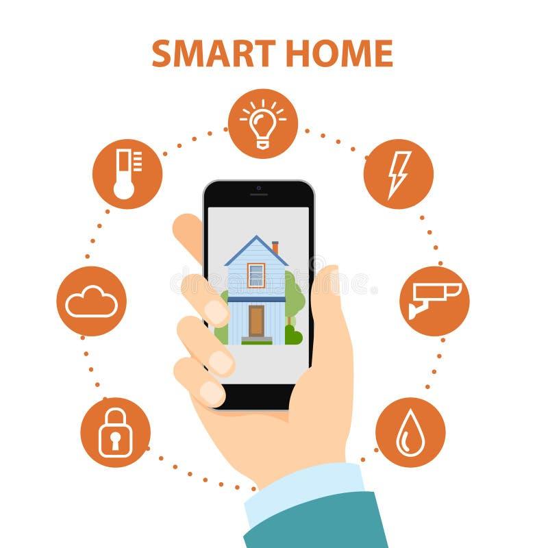 Maison futée dans le smartphone illustration libre de droits