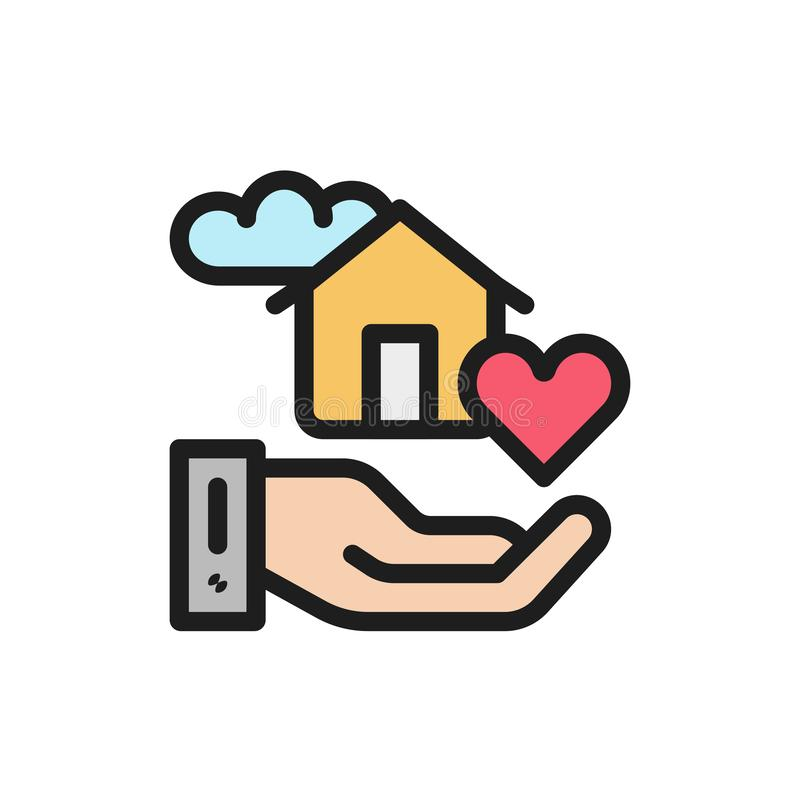 Maison futée douce d'icône plate de couleur Concept de confort de maison illustration libre de droits