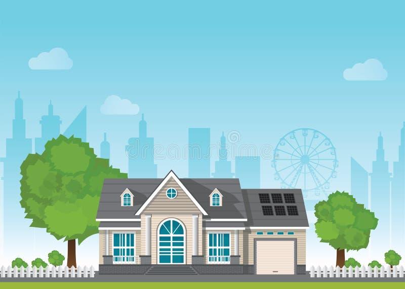Maison futée suburbaine privée avec l'énergie solaire de module du soleil illustration libre de droits
