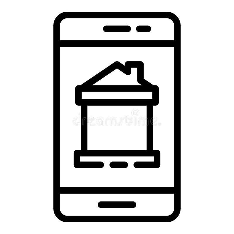 Maison futée sur l'icône de téléphone, style d'ensemble illustration libre de droits