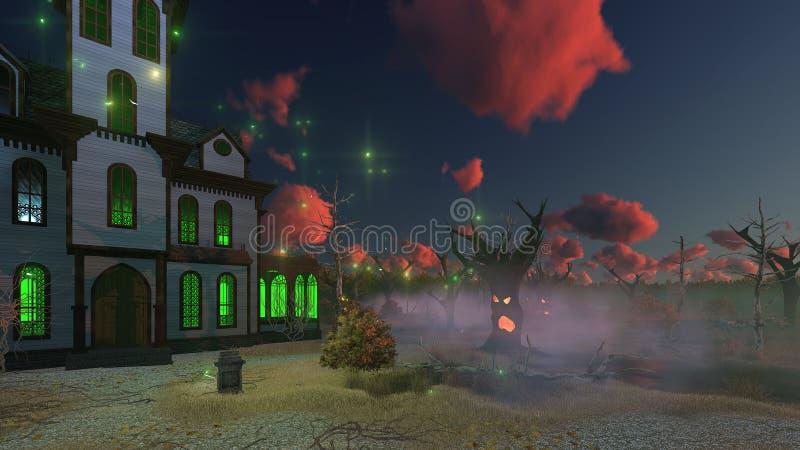 Maison hantée et arbres rampants au crépuscule illustration de vecteur