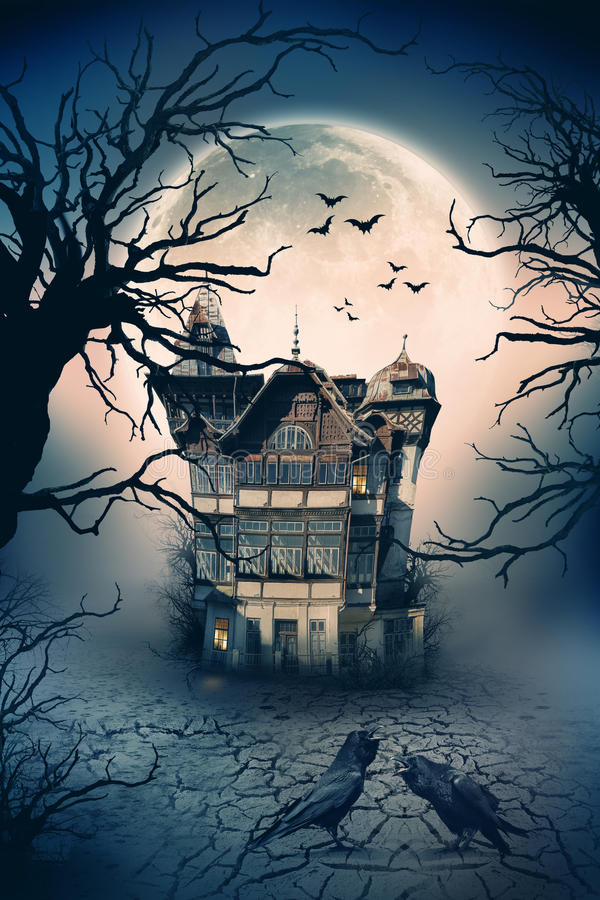 Maison hantée fantasmagorique photo stock