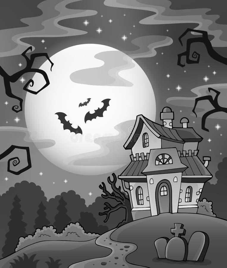 Maison hantée noire et blanche illustration libre de droits