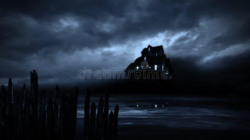 Maison hantée par Halloween d'horreur dans la nuit rampante illustration stock