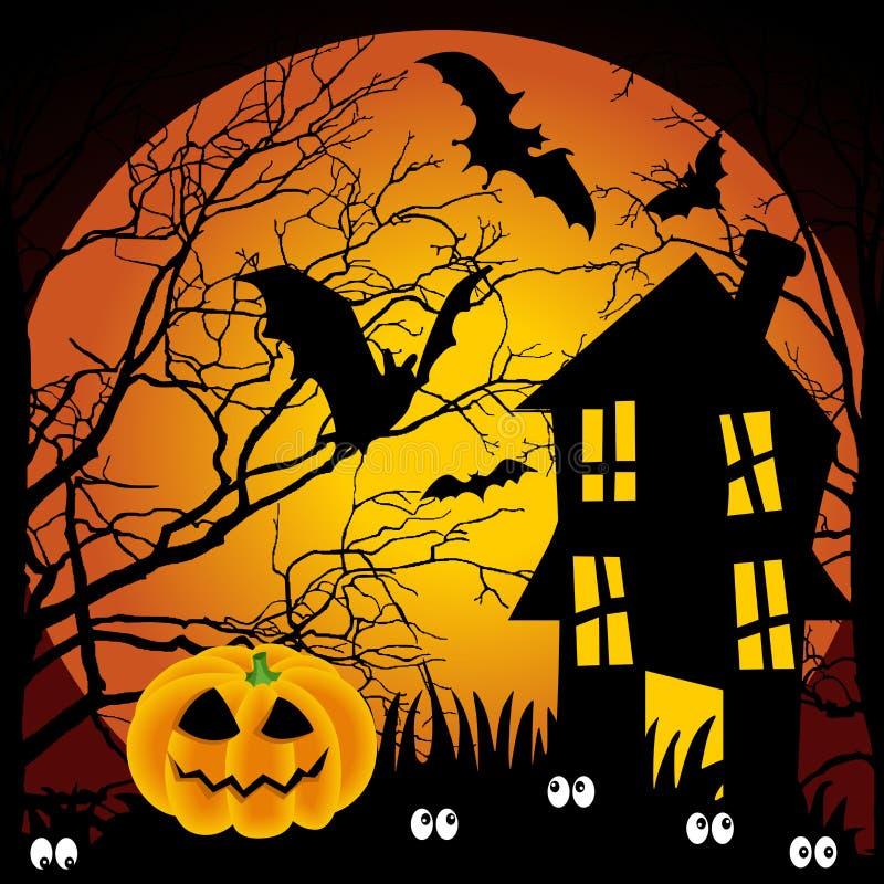 Maison hantée par nuit de Veille de la toussaint avec 'bat' et le pumpki illustration de vecteur