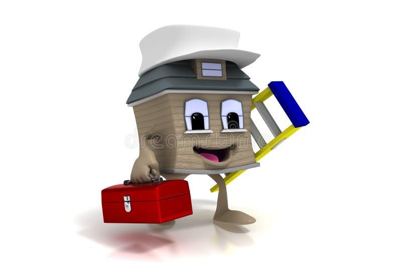 Maison heureuse de dessin animé avec la boîte à outils et l'échelle illustration stock