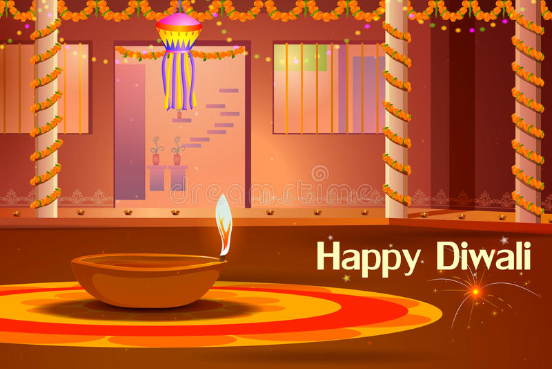 Maison indienne décorée du diya dans la nuit de Diwali illustration stock